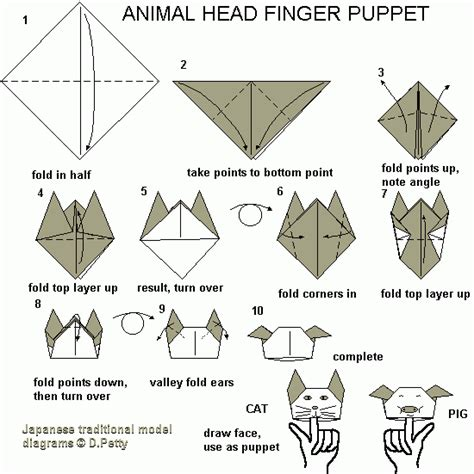 How To Make A Origami Finger Puppet - 73 animal puppet