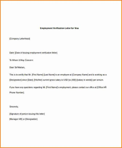 Reference Letter Format For Verification 89 Employment Verification Letter For Visa Template Awesome Collection Of Employment