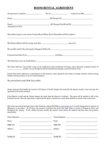rent a room agreement template free 13 best images of simple rent agreement simple rental