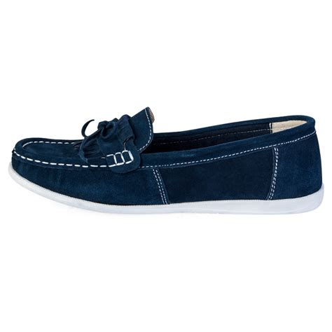 navy boat shoes womens new womens navy blue faux suede ladies flat moccasins
