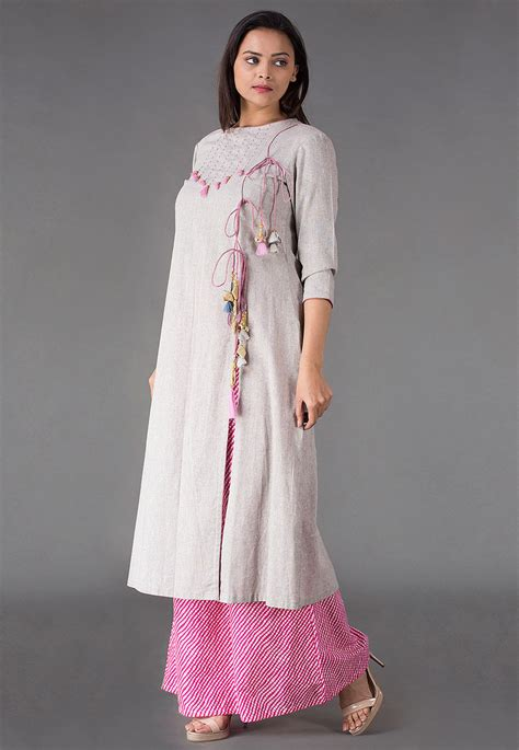 front slit a line kurti salwar kameez marking cutting front slit linen cotton a line kurta in light grey tjw648
