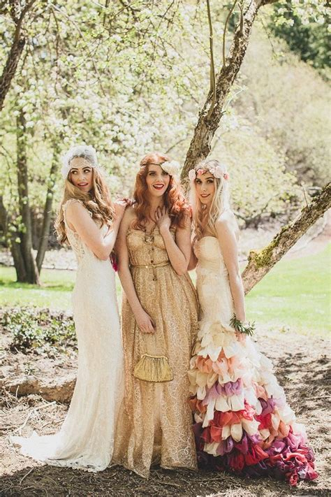 Vintage Boho Wedding Bridesmaids Gold Dress   Deer Pearl Flowers