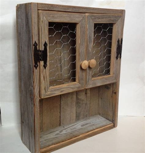 reclaimed wood wall cabinet rustic cabinet reclaimed wood shelf chicken wire decor
