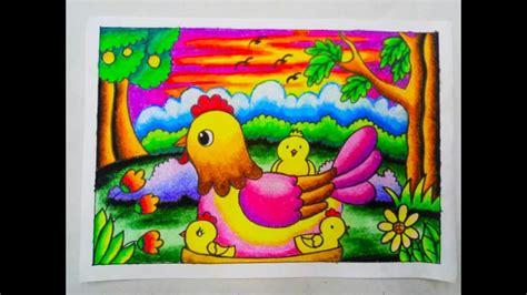 mewarnai gradasi  crayonoilpastel chicken