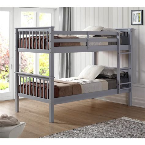 solid wood bunk beds twin over twin walker edison furniture company grey twin over twin solid