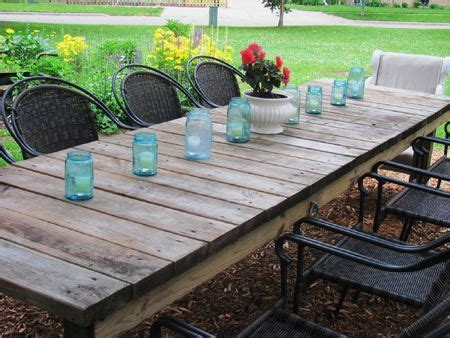 outdoor garden weathered rectangular farmhouse table