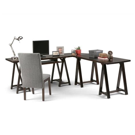 simpli home sawhorse computer desk simpli home sawhorse dark chestnut brown desk 3axcsaw 10