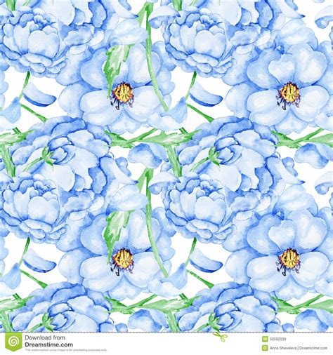 floral pattern watercolor painting blue watercolor blue flower pattern stock illustration image