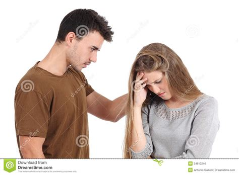 how to comfort a girl man comforting to a woman isolated royalty free stock