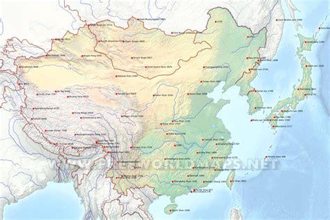 East Of east asia physical map