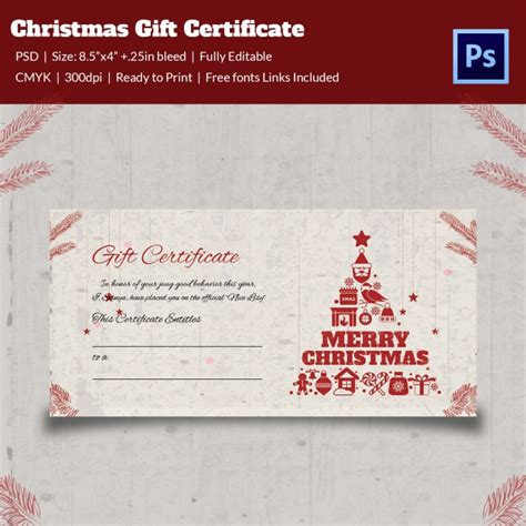 christmas gift certificate templates 21 psd format