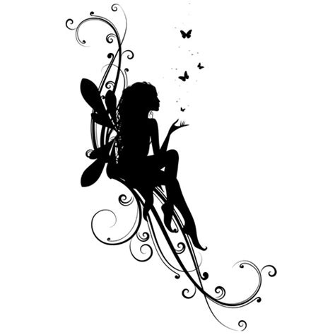 fairy silhouette tattoo designs black silhouette with flying butterflies