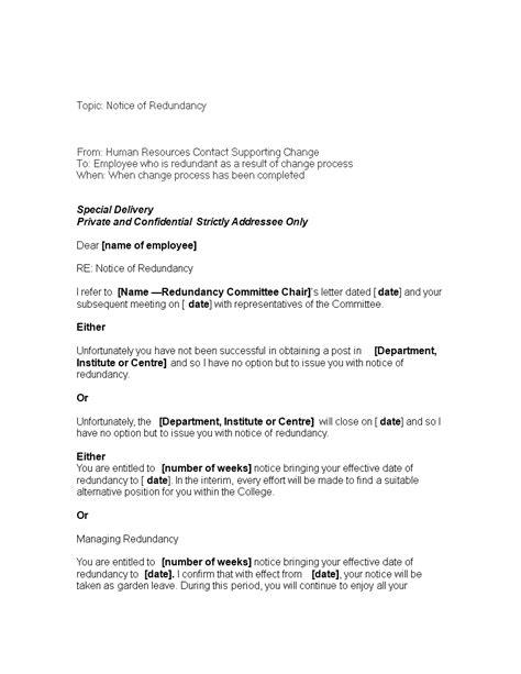 week redundancy notice letter templates