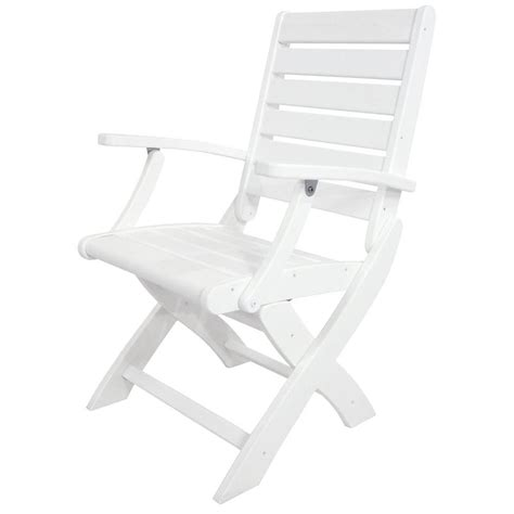 White Patio Chairs by Polywood Club White Patio Chair With Spa Cushions