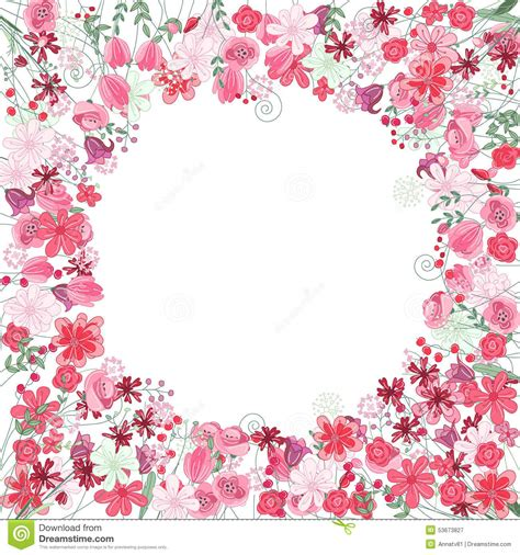imágenes flores vintage vintage round frame with contour red flowers stock vector