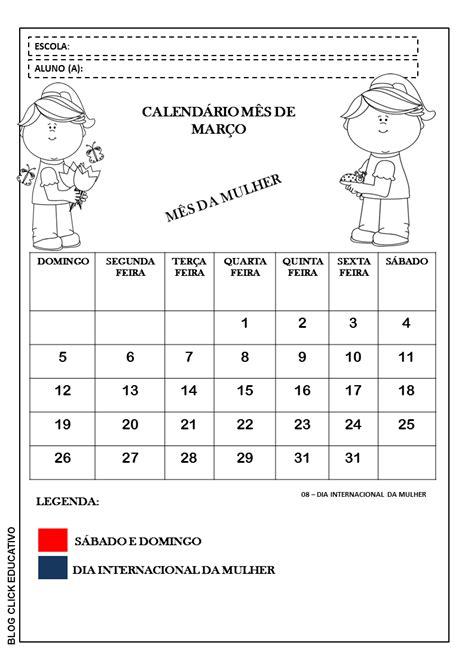 calendario 2017 mes a mes click educativo calend 225 rio do m 234 s de mar 231 o para imprimir