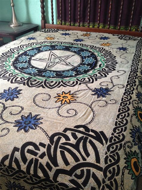 tapestry bedding pentacle pentagram floral flowers celtic wicca altar cloth