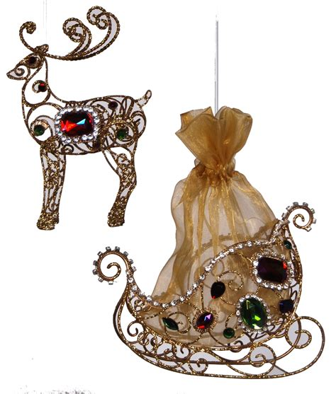 jeweled north pole reindeer and santas sleigh ornaments