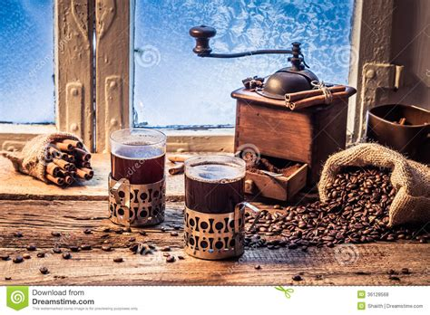 Enjoy Your Hot Coffee In Winter Day Stock Photo   Image: 36128568