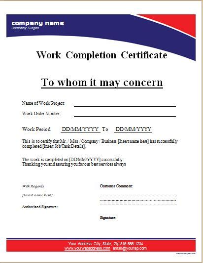 work completion certificate templates for ms word word
