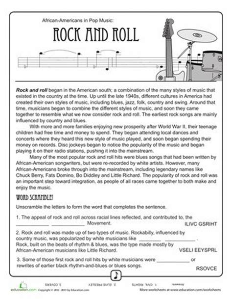 history of rock n roll 4th grade reading jazz and hip hop