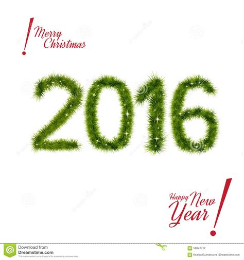 new year date on 2016 new year 2016 of tree branches isolated stock