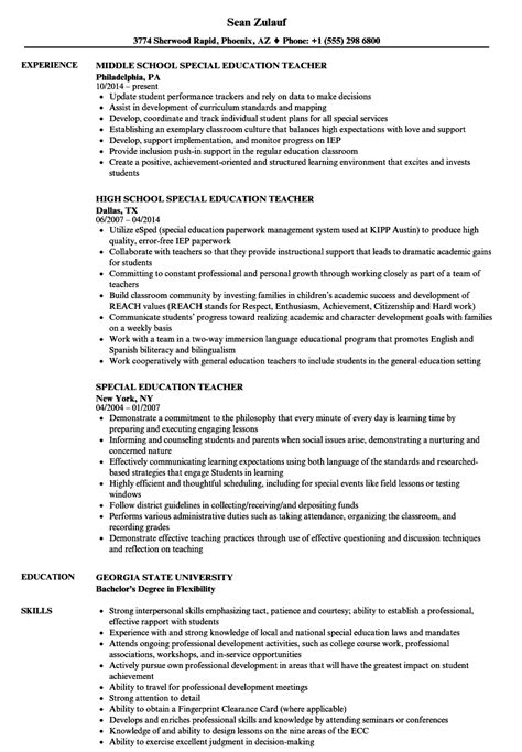 special education resume sles velvet