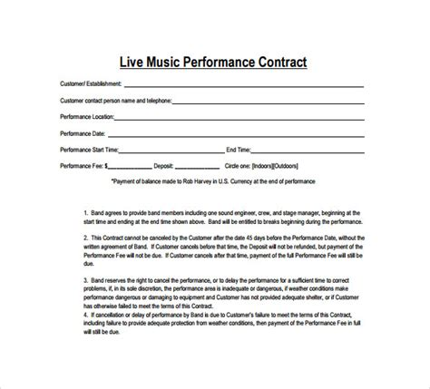 15 Music Contract Templates Sle Templates Musician Contract Template Free