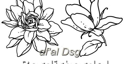desain bunga hitam putih contoh gambar motif bunga untuk bordir bordir