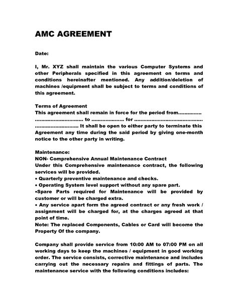 Annual Maintenance Contract Doc By Anks13 Computer Maintenance Contract Everything Network Maintenance Contract Template