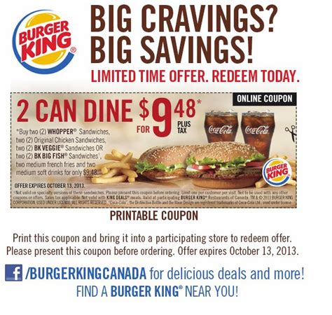 printable grocery coupons from california burger king details