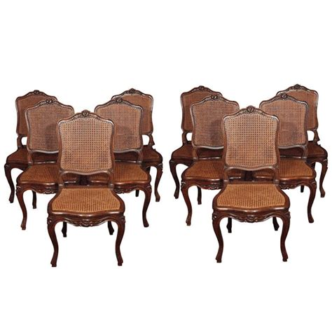 Set Of 10 French Louis Xv Style Cane Dining Chairs At 1stdibs Louis Xv Dining Chairs