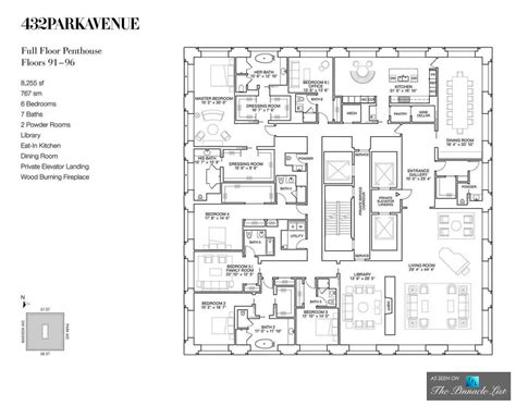 plans design luxury penthouse floor plan ph92 432 park avenue new