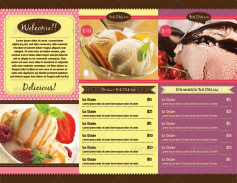 trifold ice cream menu template by avindaputri graphicriver