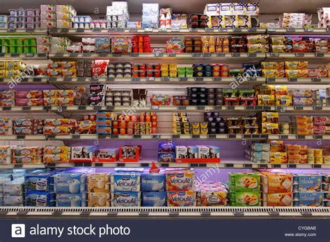 Shelf Of Yogurt by Yogurt Shelf In A Supermarket Stock Photo Royalty Free