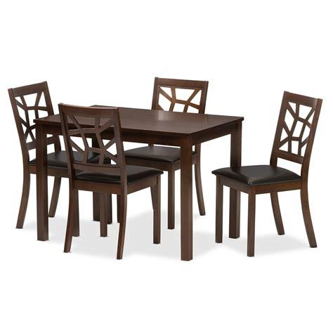 baxton studio mozaika black leather contemporary 5 dining set affordable modern