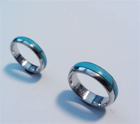 Wedding Rings With Turquoise by Handmade Two Platinum Wedding Bands Inlaid With Turquoise