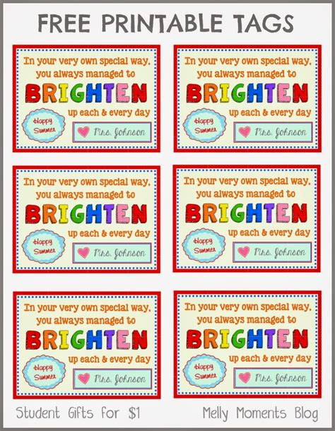 fun gifts for students during student teaching free end of year gift tag printables from to student the label as it goes