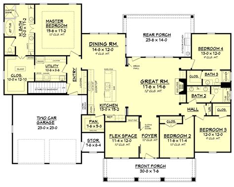 3 feet plan craftsman style house plan 4 beds 3 baths 2639 sq ft