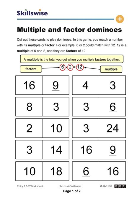 Multiples And Factors Worksheets by Multiples And Factors Worksheet Worksheets
