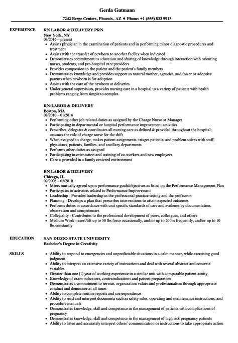 Rn Labor Delivery Resume Sles Velvet Jobs Labor And Delivery Resume Templates