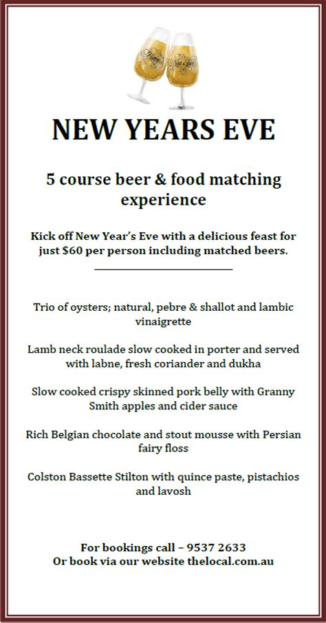 new year banquet menu sydney the local taphouse new years 5 course
