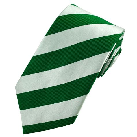 Green & Silver White Striped Silk Tie from Ties Planet UK