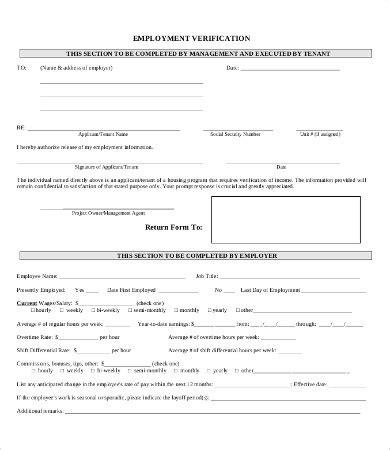 employment verification form 12 free word pdf