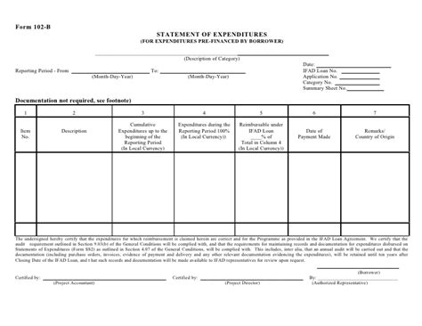 Form 102 B Statement Of Expenditures Statement Of Expenditure Template