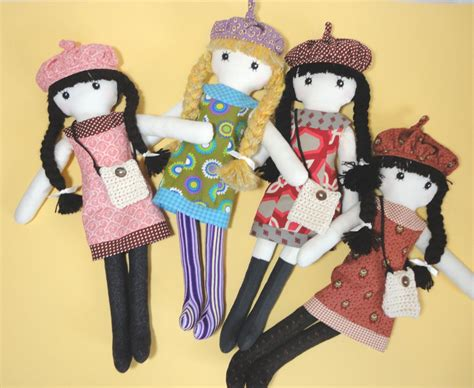 pattern fabric doll cloth doll rag doll pdf pattern with detailed instructions