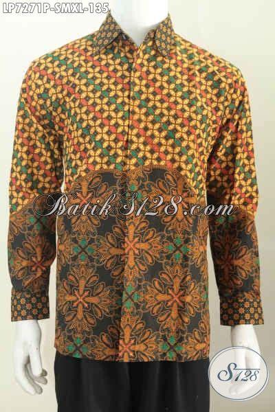 Kemeja Batik Kawung Grompol Printing Lengan Panjang baju kemeja batik printing lengan panjang model terkini bahan halus nyaman di pakai size m