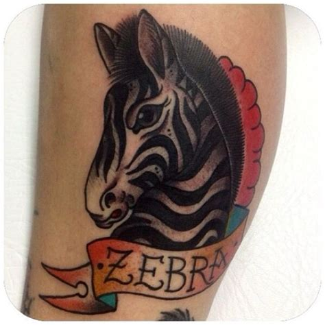 zebra tattoo meaning coloured zebra head tattoo by stephania cuervo