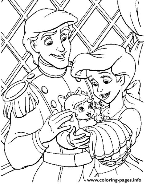 coloring page baby ariel eric and ariel with their baby little mermaid sfeba