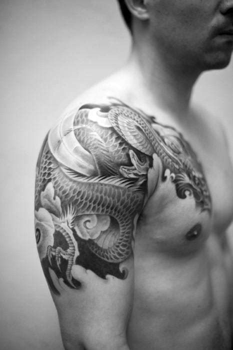 quarter sleeve dragon tattoo 40 dragon shoulder tattoo designs for men manly ink ideas